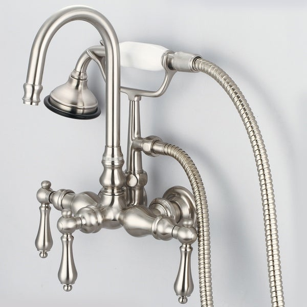 Shop water creation brushed nickel 3 3 8 inch center wall - 8 inch brushed nickel bathroom faucet ...