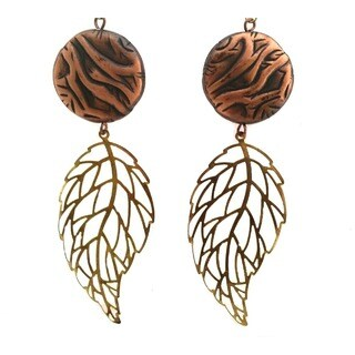 Heavenly Beads Copper and Leaf Earrings