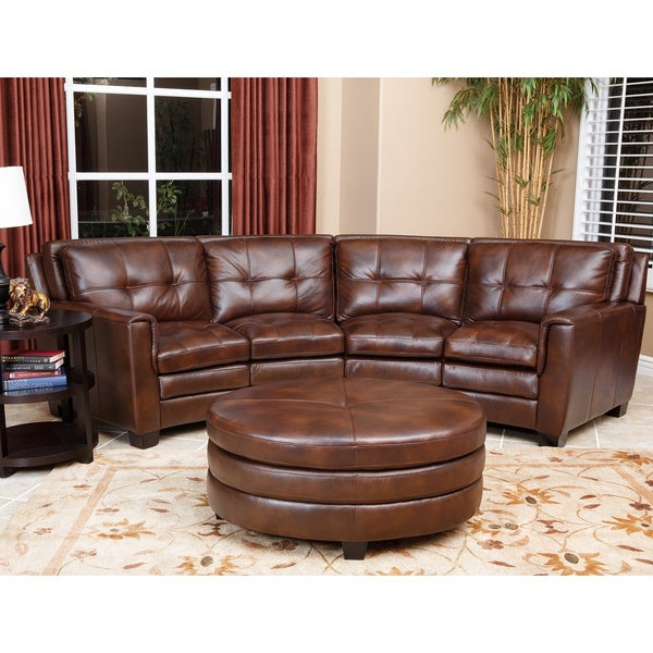ABBYSON LIVING Alexia Premium Top Grain Leather Sectional And Ottoman