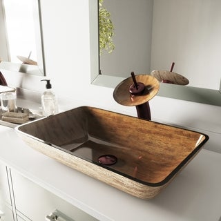 VIGO Amber Sunset Glass Vessel Bathroom Sink and Waterfall Faucet Set