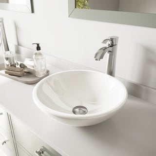 VIGO Elizabeth Phoenix Stone Vessel Bathroom Sink Set With Otis Vessel Faucet In Brushed Nickel