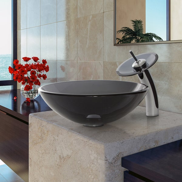 VIGO Sheer Black Glass Vessel Sink and Waterfall Faucet Set in ...