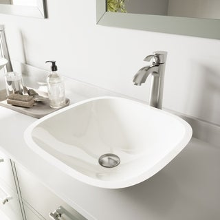 VIGO Square Shaped White Phoenix Stone Vessel Sink and Otis Faucet in Brushed Nickel