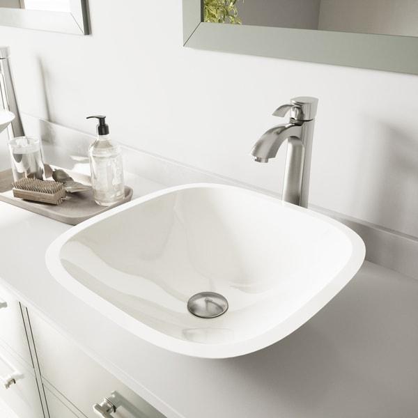 VIGO Marie Phoenix Stone Vessel Bathroom Sink and Otis Faucet Set