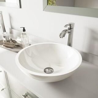 VIGO Victoria Phoenix Stone Vessel Bathroom Sink Set With Otis Vessel Faucet In Brushed Nickel