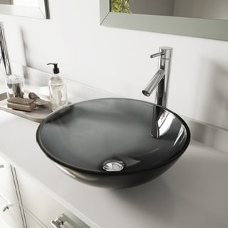 VIGO Sheer Black Glass Vessel Bathroom Sink and Dior Faucet Set
