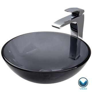 VIGO Sheer Black Glass Vessel Sink and Faucet Set in Chrome