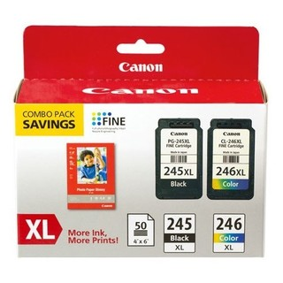 Canon PG-245XL/CL-246XL Original Ink Cartridge/Paper Kit - Black, Col