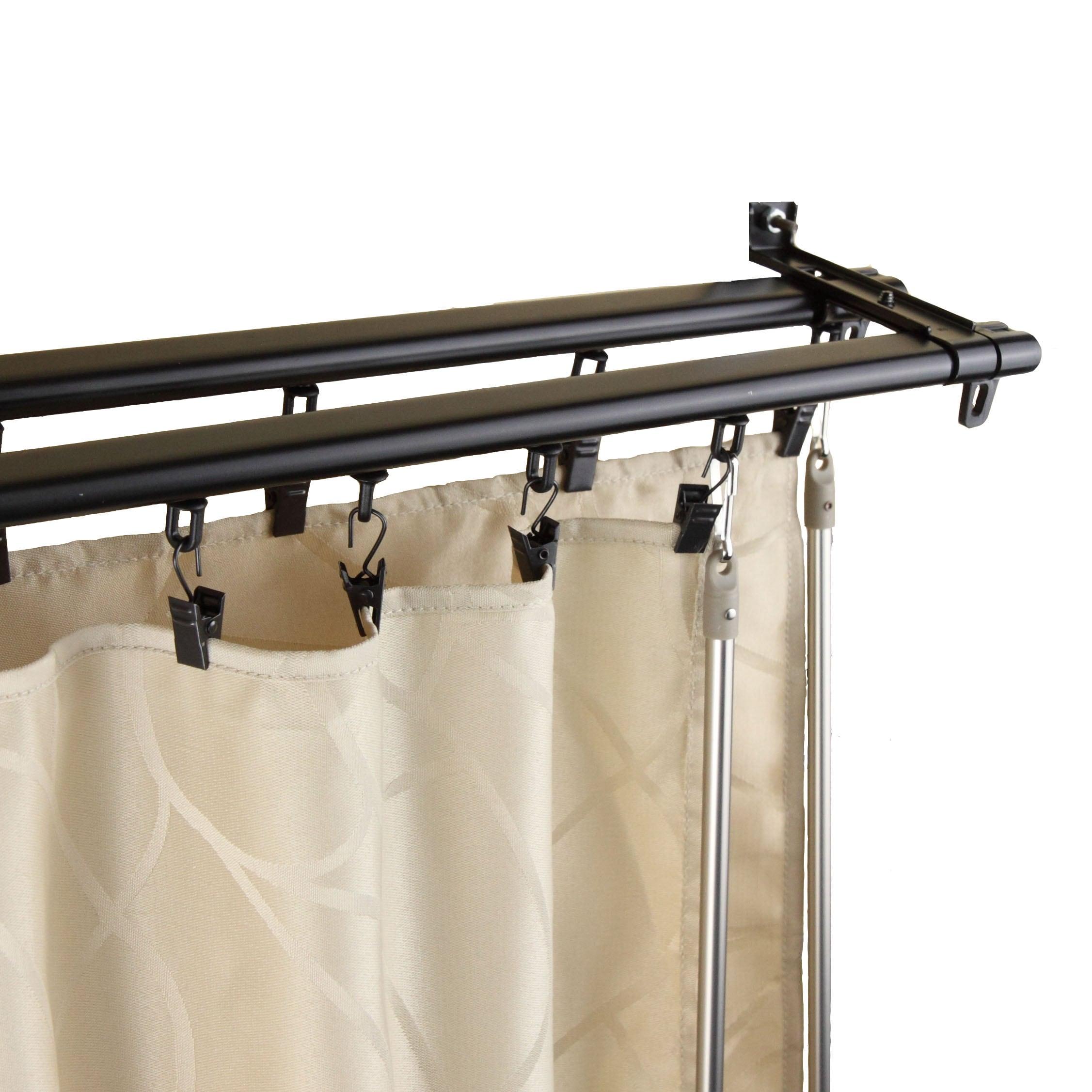 InStyleDesign Regal Black Adjustable Double Curtain Rod T...