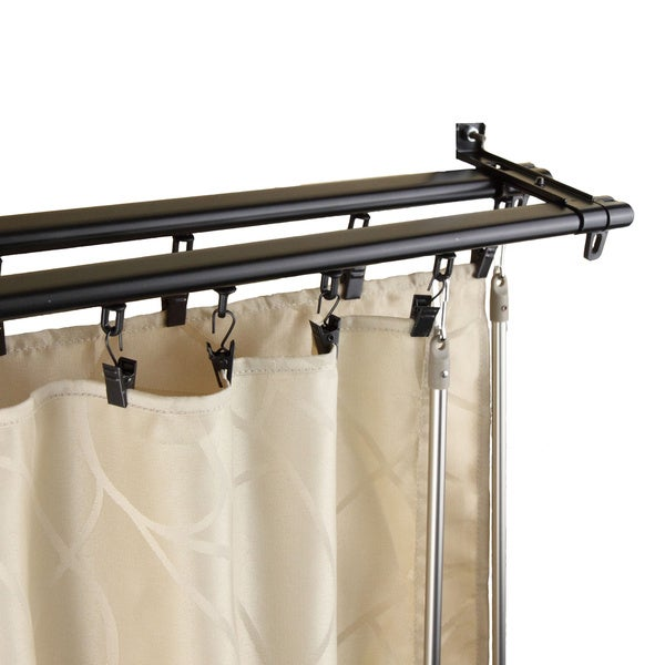 instyledesign regal black adjustable double curtain rod track free