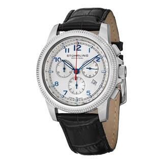 Stuhrling Original Men's Targa Courant Swiss Quartz Black Leather Strap Watch