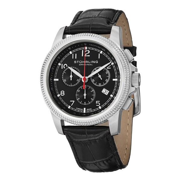 Stuhrling Original Men's Targa Courant Swiss Quartz Leather Strap Watch with Black Dial - silver