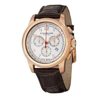 Stuhrling Original Men's Targa Courant Swiss Quartz Brown Leather Strap Watch