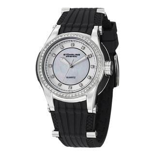 Stuhrling Original Women's Illusion Quartz Crystal Rubber Strap Watch