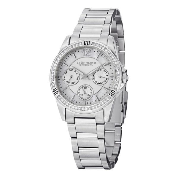 Stuhrling Original Women's Helena Quartz Crystal Stainless Steel Bracelet Watch