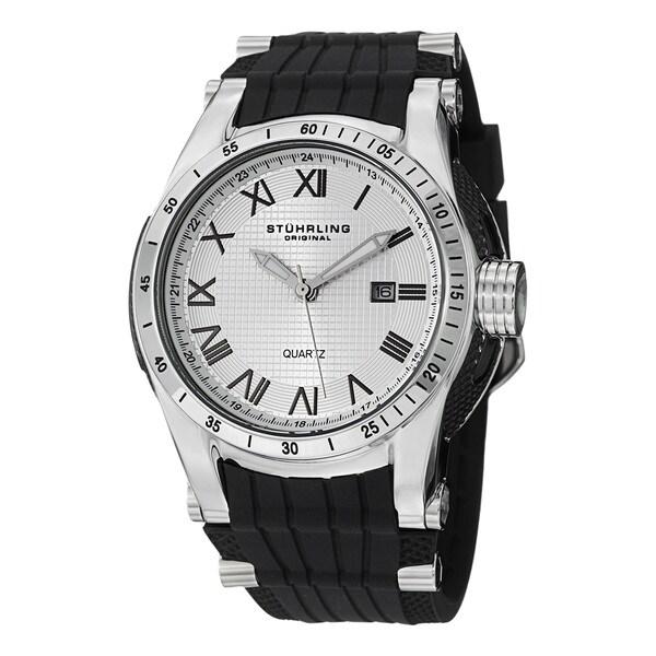 Stuhrling Original Men's Tachymere Water-resistant Quartz Rubber-strap Watch