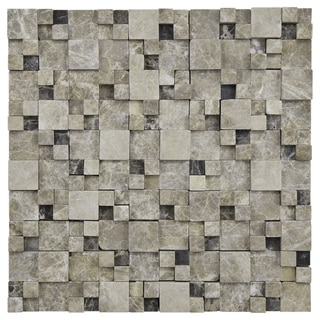 SomerTile 12x12-inch Griselda Gaodi Emperador Natural Stone Mosaic Wall Tile (Case of 10)