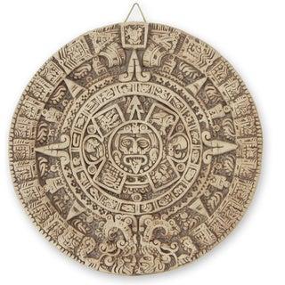 Ceramic 'Aztec Sun Stone' Wall Plaque  , Handmade in Mexico