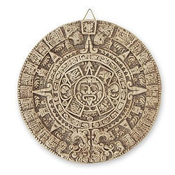 Ceramic 'Aztec Sun Stone' Wall Plaque , Handmade in Mexico