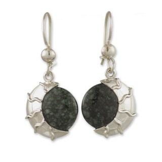 Handmade Sterling Silver 'Place of the Moon' Jade Earrings (Guatemala)