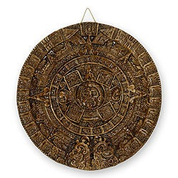 Ceramic 'Dark Terracotta Aztec Sun Stone' Wall Plaque (Mexico)