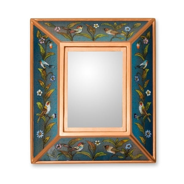Handmade Song to Life Reverse Painted Glass Mirror (Peru) - Blue/Green