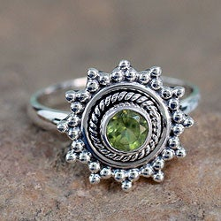 Lime Princess Round Green Peridot Faceted Gemstone with Oxidized 925 Sterling Silver Bohemian Hippie Womens Ring (India)