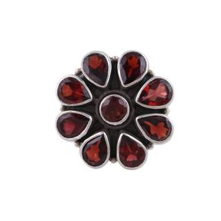 Handmade Sterling Silver 'Floral Glamour' Garnet Ring (India)