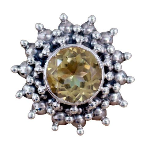 Handmade Sterling Silver Star Citrine Ring (India)