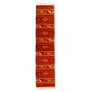 Handmade Wool Sierra Sunset Orange Zapotec Traditional Area Rug (1.5 x 6.5) (Mexico) - 1.5 x 6.5