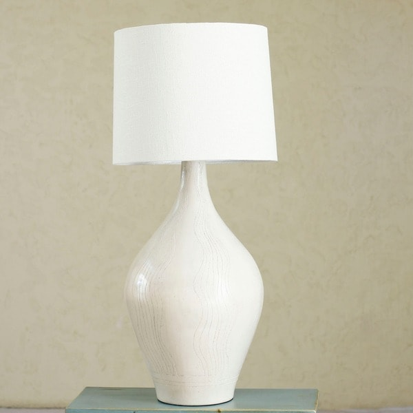 Handmade Ceramic 'White Surf' Table Lamp (Mexico)