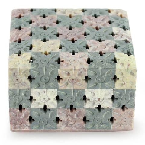 Handmade Soapstone 'Bed of Flowers' Decorative Box (India)