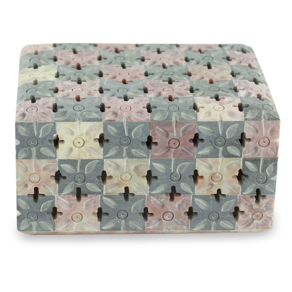 Handmade Soapstone 'Floral Patchwork' Decorative Box (India)