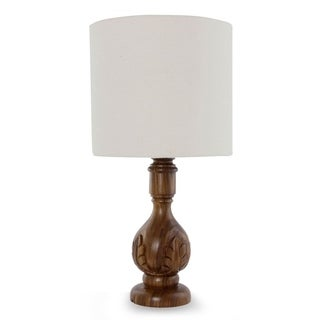 Handmade Parota Wood 'Acanthus Light' Table Lamp (Mexico)
