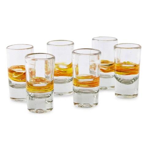 Handmade Set of 6 Blown Glass 'Round Ribbon of Sunshine' Shot Glasses (Mexico)