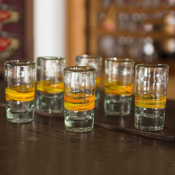 Set of 6 Blown Glass 'Round Ribbon of Sunshine' Shot Glasses (Mexico)