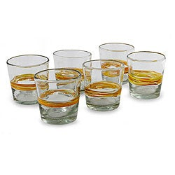 Hand Blown Glass Round Ribbon of Sunshine Rocks Glasses (Set of 6) (Mexico)