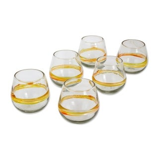 Handmade Glass Round Ribbon of Sunshine Drinking Glasses (Set of 6) (Mexico)