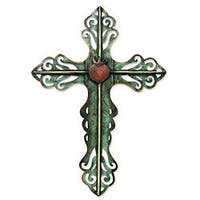 Handcrafted Steel Cross and Sacred Heart Wall Art Sculpture (Mexico)