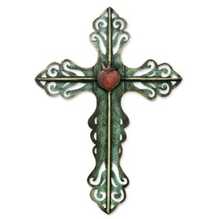 Handmade Steel Cross and Sacred Heart Wall Art Sculpture (Mexico)