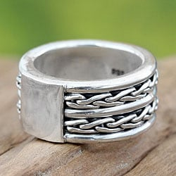 Handmade Sterling Silver Men's 'Lightning Paths' Ring (Indonesia)
