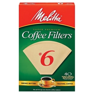 Melitta 626412 #6 Natural Brown Paper Cone Coffee Filters- 40 Count