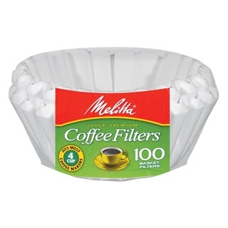 Melitta 62912 Paper White 4-6 Cup Jr. Basket Coffee Filters- 400 Count