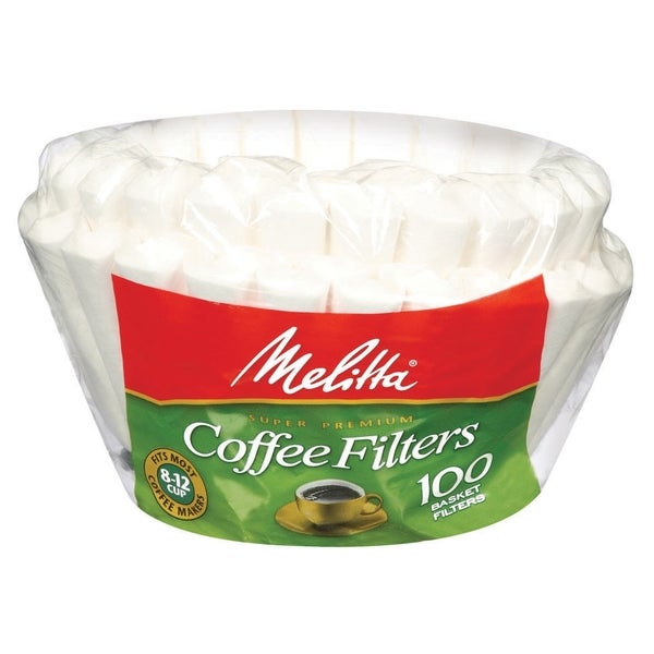 Melitta 629552 Paper White 8-12 Cup Basket Coffee Filters- 400 Count