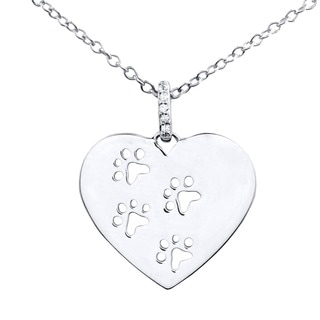 Tender Voices Sterling Silver Diamond Accent Heart Paw Print Necklace