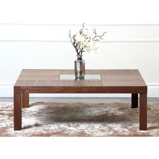 abbyson living clara walnut square coffee table - free shipping
