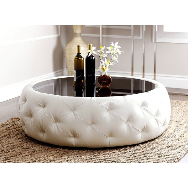 abbyson havana round leather coffee table - free shipping today
