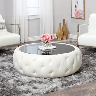Abbyson Havana Round Leather Coffee Table