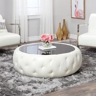 Abbyson Havana White Leather Round Coffee Table