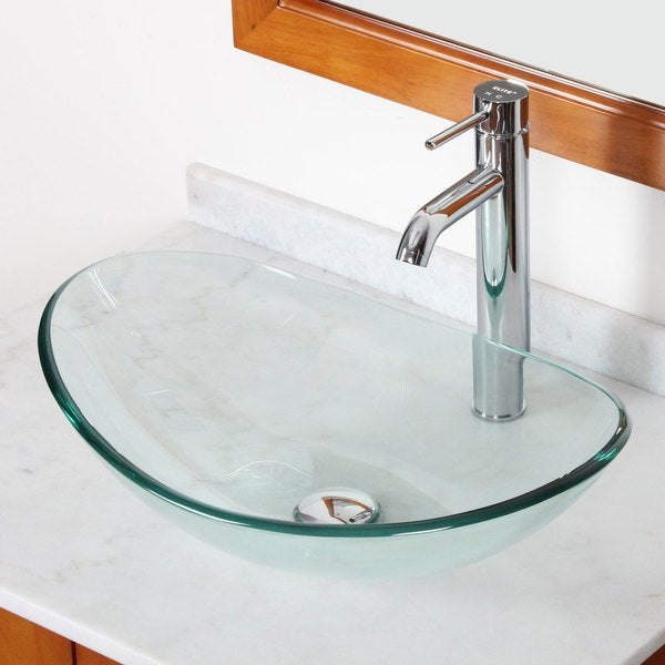 Elite GD33F371023C Tempered Bathroom Glass Vessel Sink W. Unique Oval Shape With Faucet Combo